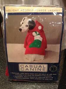 Puppy Dog Santa Claus Fleece Suit Christmas Costume with Pom Pom Hat & Stocking