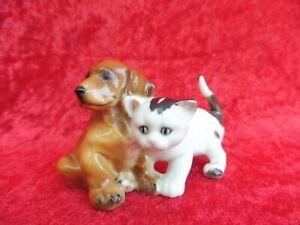 schöne Porzellanfigur , Hund ( Dackel ) und Katze , Hutschenreuther