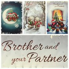 """BROTHER AND PARTNER CHRISTMAS CARD  7.5""""x5.5"""" rrp£2  (XMAS3)"""
