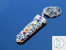 Dalmatian Jasper 7 Chakra Flat Natural Gemstone Pendant Necklace 50cm Healing