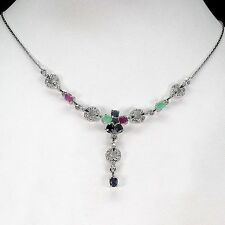 NATURAL GEM EMERALD,RUBY,SAPPHIRE,STERLING 925 SILVER NECKLACE
