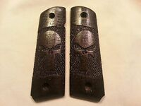 Full size 1911 Walnut Wood Grips with Skull Engraving,  Stained Ebony Black