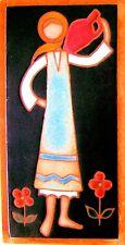 E. Mixandidou Tile Wall Hanging Vintage Signed Helen Michaelides 1960s Original