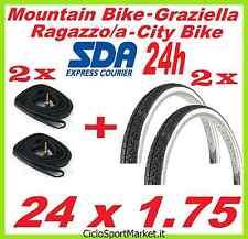 2 x Copertoni + 2 x Camere d'aria bicicletta GRAZIELLA / MTB 24 x 1.75 SLICK