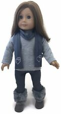 """Grey Top, Leggings & Scarf w/Hearts Outfit for 18"""" American Girl Doll Clothes"""