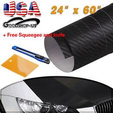 "24"" x 60"" Premium 3D Car Carbon Fiber Vinyl Wrap Sticker Roll Car Film Black"