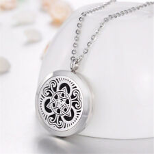 Stainless Steel Essential Oils Aromatherapy Celtic Knot Locket Pendant Necklace