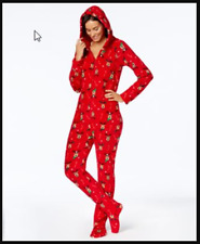 936ed5c4a0 Family PJs Kids Unisex Reindeer Red Christmas Holiday Footed Pajamas Sz 8