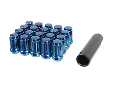 20pc Blue Spline Wheel Lug Nuts | 12x1.5 Threads | w/ Socket Key | Cone Seat