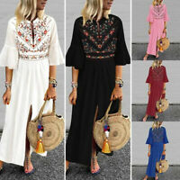 Women Flared Sleeve Casual Floral Print Shirt Kaftan Long Maxi Dress Plus Size