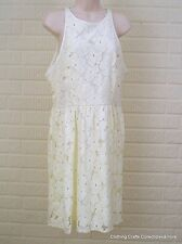 LC Lauren Conrad Floral Lace Fit & Flare Dress Womens Sz 12 Ivory White NWT