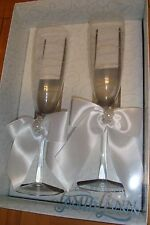 #2 Champagne Etched Wedding Toasting Flutes-Glasses Pearls,Satin Ribbon  White