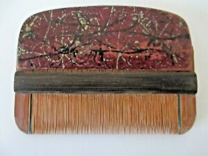 "Collectible Antique Chinese Lice Nit Hand Decorated Wooden Hair Comb 3 3/4""   Z9"
