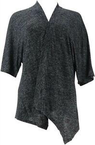 Halston Super Soft Kimono Open-Front Cardigan Grey XS NEW A305570