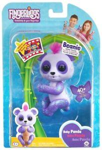 Fingerlings Baby Panda BEANIE Glitter Fingerling PURPLE WowWee 40+ Sounds NEW