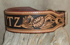 "Custom Saddle Tan 2"" Leather Dog Collar Your Dogs Name, Hand Tooled, sz M G&E"