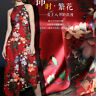 0.5m 93% mulberry silk stretch satin culottes cheongsam fabric flower red A016