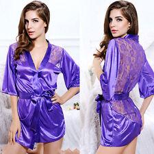 Sexy Donne Pizzo Babydoll Vestaglia Pigiameria Lingerie Nightwear Pigiama Abito * viola