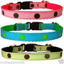 "XS Pocket Puppy Dog Collar 7-10"" Neck Dotted For Small Breed or Puppies Only"