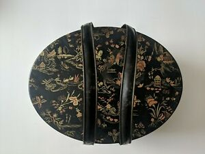 Beautiful Vintage Tin Oval Japanese Container, Box, Sewing Box, collectible