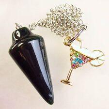 Natural Moss Agate Pendulum & Tibetan Golden Cup Pendant Bead S68723