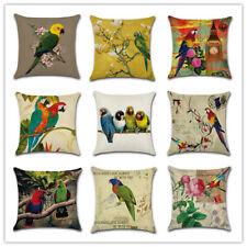 UK 18'' Retro Bird Plant Parrot Cushion Cover Throw Pillow Cases Home Sofa Decor