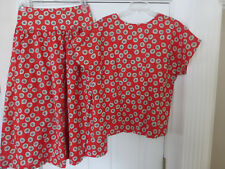 NWT VTG CARROLL REED 2PCS SET SKIRT & TOP RED PRINT SIZE 20