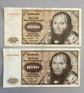 2x 1000 DM Deutsche Mark Schein Scheine Banknoten Banknote Geld 1977