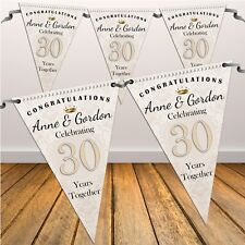 Personalised 30th Pearl Wedding Anniversary Flag Banner Bunting N44 - 10 Flags