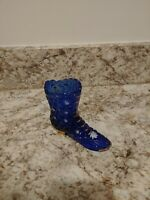 Fenton  Glass Cobalt Blue Handptd. Victorian Boot Signed By Dave Fenton