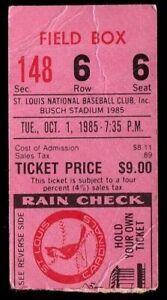 Ticket Baseball St. Louis Cardinals 1985 10.1 New York Mets