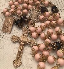 French Rosary ~ 8mm Angel Skin Coral Beads & Amethyst Crystal~ Antique Bronze