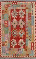 Geometric Kilim Reversible Oriental Area Rug Hand-woven Wool Foyer Carpet 5x7 ft