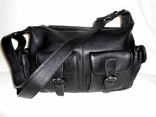 VERA PELLE BLACK  LEATHER HOBO/SATCHEL/SHOULDER BAG, FRONT TWO POCKETS, AMAZING!