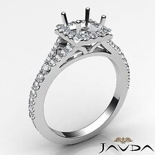 Princess 0.5Ct Semi Mount Halo U Cut Prong Diamond Engagement Platinum 950 Ring
