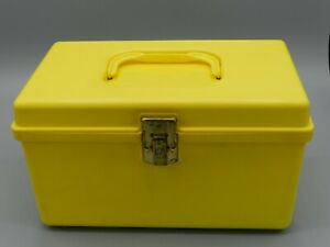 Vintage Wilson Mfg Wil-Hold Plastic Sewing Box YELLOW + Notions Small Case
