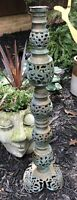 Vintage Chinese Pierced Brass Candle Stick Floor Lamp Part MCM James Mont Patina