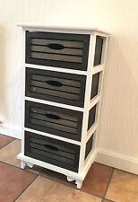 Black White Wood Storage Unit Chest of Drawers Bathroom Cabinet Shabby Chic 10