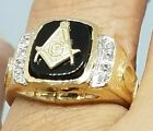 GOLD Mens freeMason Masonic Mason onyx ring 14k solid real yellow 10 8 9 11 12