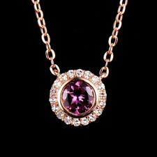 Natural Round Pink Tourmaline Diamond Pendant Necklace Chain Solid 14K Rose Gold