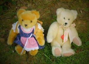 2 VINTAGE HERMANN GERMAN TEDDY BEAR WITH TAGS, MOHAIR