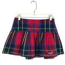 Hollister plaid mini School Girl skater skirt Sz 0 red blue cotton a-line short