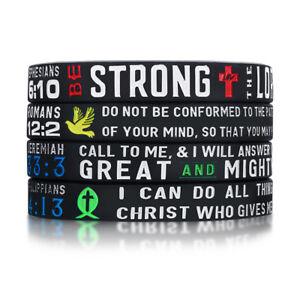 4pcs Power of Faith Bible Verse Wristbands Christian Men Bracelet Religious Gift