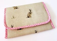 Handmade baby travel changing mat for bag - Bunny Rabbit Beige Pink & Oilcloth