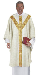 Ivory Traditio Semi-Gothic Chasuble Y Orphrey and Understole