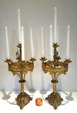 Large pair ormolu gilt brass / bronze table candelabra 5 candlesticks ornate