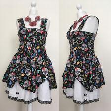 *OOAK* Brand New Handmade Skull Black Dress Size 8/10 Lolita Goth Halloween