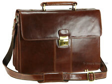 Visconti Large Luxury Genuine Leather Briefcase Shoulder Bag - Brown ( 01775 )
