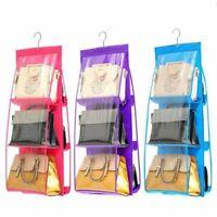 Hanging Storage Bag 6 Pocket Purse Handbag Tote Bag Storage Organizer Hanger