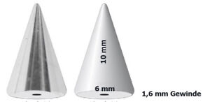 Set 2 Piercing Jewelry Clasp Lace Spike Cone 6mm Wide 6-20mm Long Steel